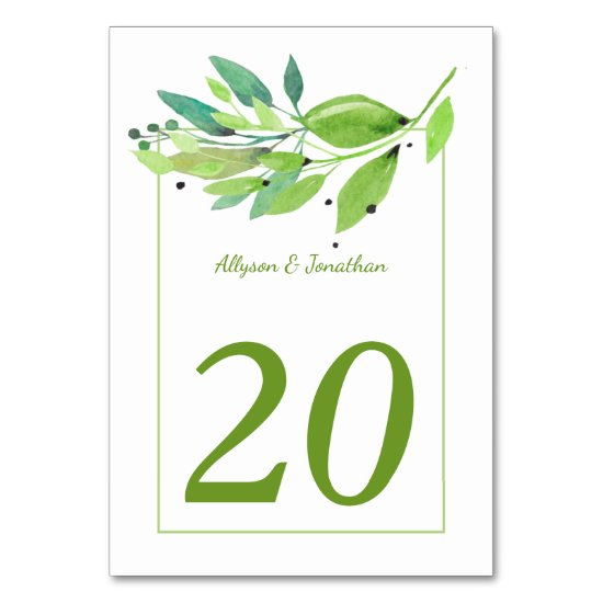 Summer Breeze Watercolor Leaves Table Cards |