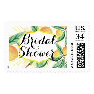 Summer Bridal Shower Lemons Tropical Postage Stamp