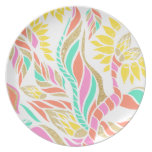 Summer bright modern coral gold turquoise floral dinner plate