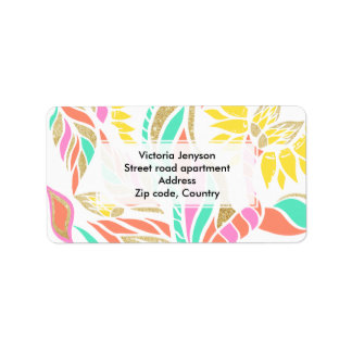 Summer bright modern coral gold turquoise floral label
