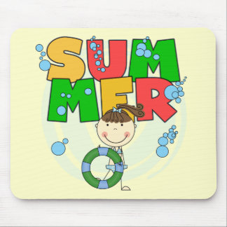 SUMMER - Brunette Girl Tshirts and Gifts Mouse Pads