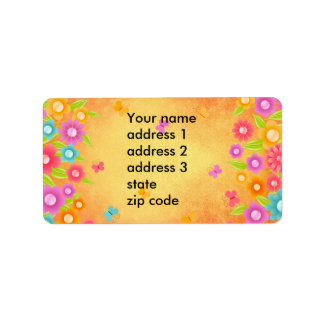 Summer butterfly and flowers custom address labels