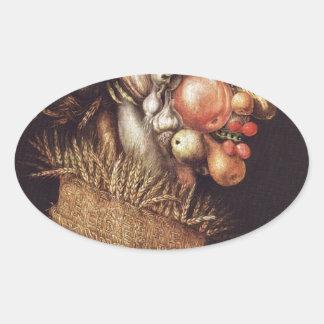 Summer by Giuseppe Arcimboldo Oval Sticker