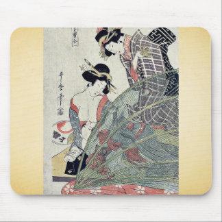 Summer by Utamaro II, d. Ukiyoe Mouse Pad