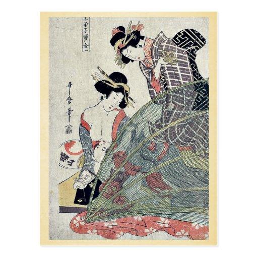 Summer by Utamaro II, d. Ukiyoe Postcard
