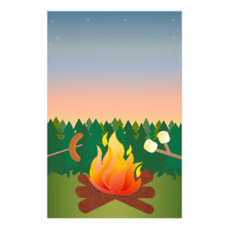 Summer Camp Fire Hot Dogs and S'mores Flyer