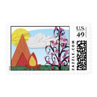 Summer Camp Illustrated Stamp