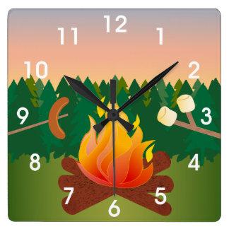 Summer Camp Marshmallow Smores Square Wall Clocks