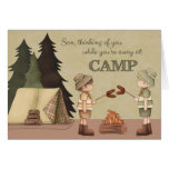 Summer Camp Thinking of You, boy campers Card
