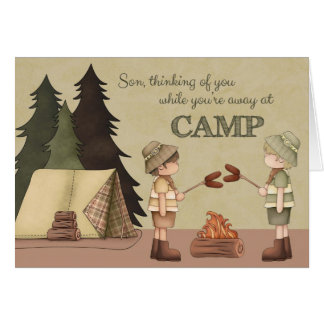 Summer Camp Thinking of You, boy campers Greeting Card