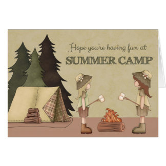 Summer Camp Thinking of You girl campers Card