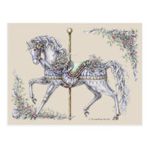 Summer Carousel Horse Drawing Post Card