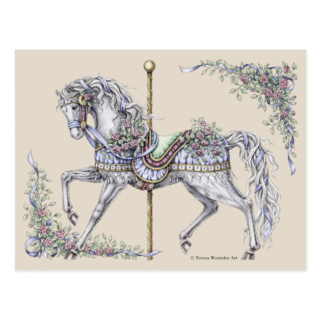 Summer Carousel Horse Drawing Post Card Zazzle Com