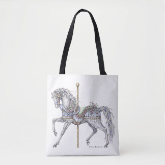 Summer Carousel Horse Pen and Ink Drawing Tote Bag