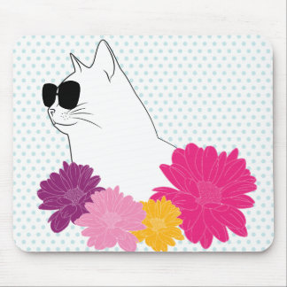 """Summer cat"" line drawing with flowers, polka dots Mouse Pad"