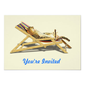 Summer Cat Nap in Beach Chair with Shadow Card