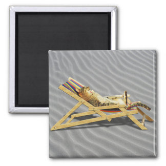 Summer Cat Nap in Beach Chair with Shadow Fridge Magnet