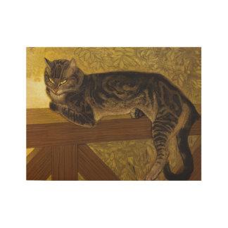 Summer Cat on Balustrade Art Nouveau Wood Poster
