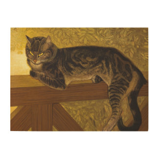 Summer Cat on Balustrade Steinlen Wood Print
