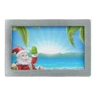 Summer Christmas Santa Beach Scene Belt Buckles