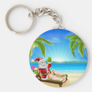 Summer Christmas Santa Beach Scene Keychains