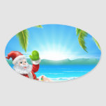 Summer Christmas Santa Beach Scene Stickers