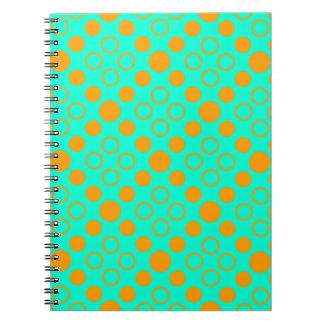 Summer Circles in Orange and Vivid Aqua Notebook