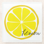"""Summer Citrus Lemon Glass Coaster<br><div class=""""desc"""">Keep your tables neat and tidy with these luscious glass coasters featuring the bold,  retro 70s-inspired designs of our Summer Citrus line! Available in lemon,  lime,  or orange.  Mix and match with the rest of our Summer Citrus tableware for a zesty,  festive look for your next party or dinner!</div>"""