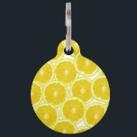 """Summer Citrus Lemon Slices Pet Name Tag<br><div class=""""desc"""">This summer citrus lemon slices pattern is perfect for the trendy and stylish foodie hipster. .</div>"""