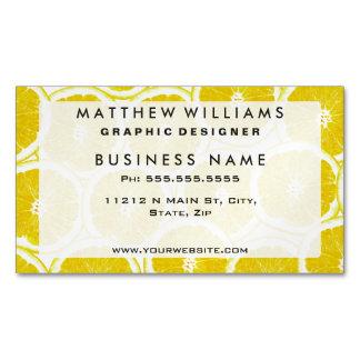 Summer Citrus Lemon Slices Magnetic Business Cards (Pack Of 25)