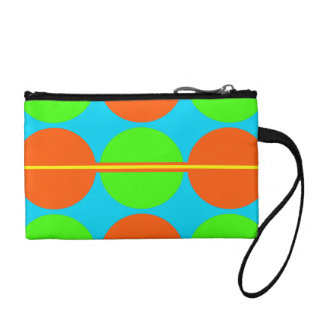 Summer Citrus Lime Green Orange Yellow Teal Circle Coin Purse