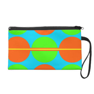 Summer Citrus Lime Green Orange Yellow Teal Circle Wristlet