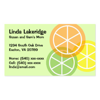 Summer Citrus Mommy Contact  Info Card Double-Sided Standard Business Cards (Pack Of 100)