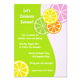 """Summer Citrus Pool and Cocktail Party Invitation 4.5"""" X 6.25"""" Invitation Card"""