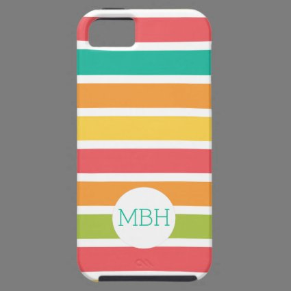 Summer Citrus Stripes Fun Personalized iPhone 5 Case