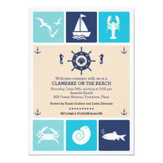 Summer Clambake Nautical Beach Icons Party 5x7 Paper Invitation Card