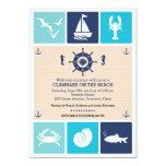 Summer Clambake Nautical Beach Icons Party Card