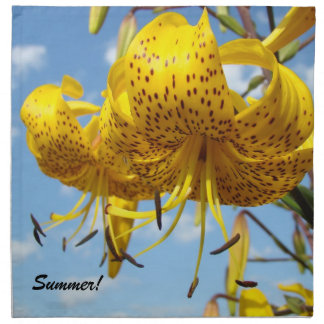 Summer Cloth Napkins Yellow Lilies Dinner Parties
