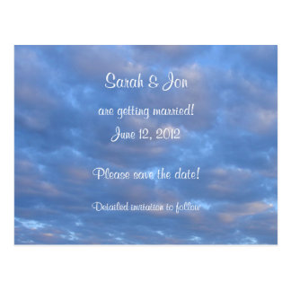 Summer Clouds Save the Date Wedding Postcard