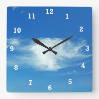 Summer Clouds Square Wall Clock