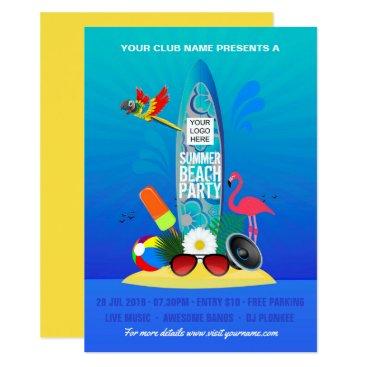 Summer Club Beach Party add logo invitation