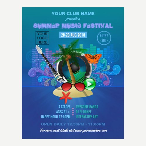 Summer Club Beach Party add photo and logo invite Flyer