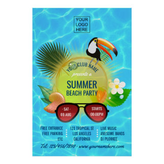 Summer Club/Corporate Beach Party advertisement Poster