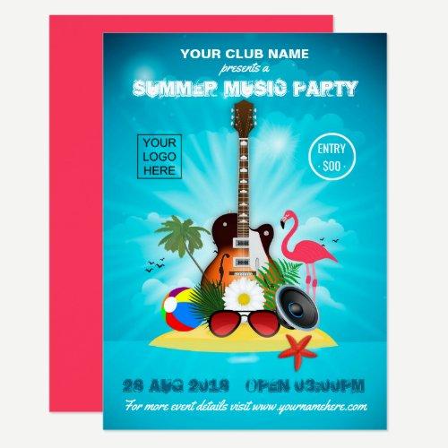 Summer Club Music Party add logo invitation