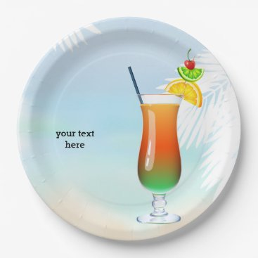 Beach Themed Summer Cocktail Paper Plate