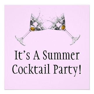 Summer Cocktail Party Custom Invitation (Square)