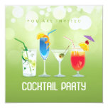 "Summer Cocktail Party invitation 5.25"" Square Invitation Card"