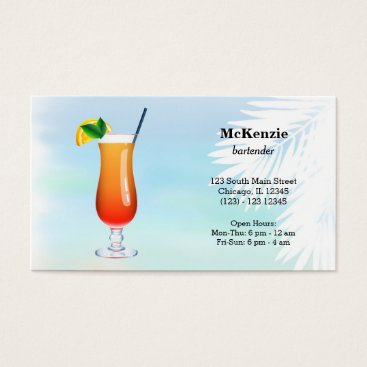 Beach Themed Summer Cocktails Business Card