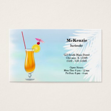 Beach Themed Summer Cocktails Business Card