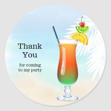 Beach Themed Summer Cocktails Classic Round Sticker